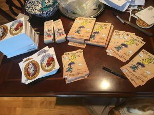 Hey, look! 750 things to sign for wonderful, generous Charity Bike Ride backers!
